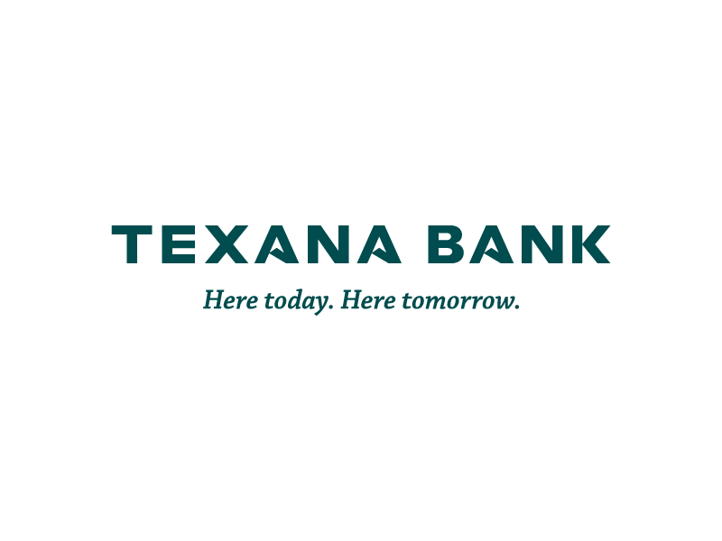 """Texana Bank's custom wordmark, featuring the brand's star points in the negative space of the each capital """"A"""" character."""
